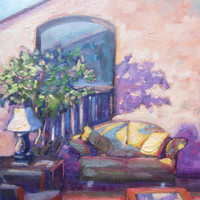 In the Lobby, oil on canvas motel art. ACEO PRINT. Interior with tree, couch, lamp, shadows. Peaceful art.