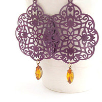 Purple Filigree Earrings Lace Earrings Amethyst Earrings Amber Rhinestone Earrings Boho Earrings Old Hollywood Style Autumn - Rhapsody Lace