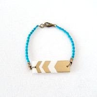 Knotted Stacking Bracelet, Aqua Blue and Chevron Tribal Rectangle