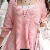 Pink Tender Single Pocket Bat Type Sweater $39.00