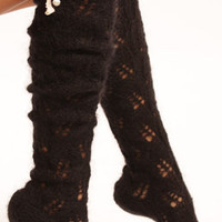 Mohair Lacy Knee Socks - Black : Lowie, Handmade woollen accessories and clothing