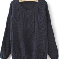 Navy Round Neck Broken Stripe Sweater - Sheinside.com