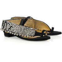 Discount Vionnet Crystal-embellished studded suede sandals | THE OUTNET