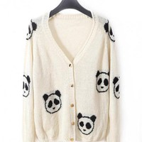 Product search_White V-neck Long-sleeved Crochet Panda Cardigan_udobuy - Fashion Dress with Free Shipping