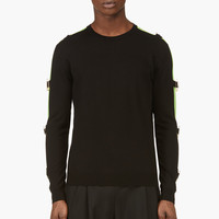 Versus Black And Lime Safety Pin Sweater