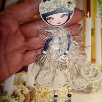 Doll Brooch , OOAK Brooch &quot;Dot.. on Luulla