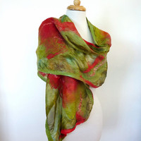 Silk Fashion Wrap. Forest Green and Red Felt Scarf. Large.