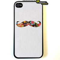 Flowery Mustache iPhone 4 Case / New Hard Fitted Case For iphone 4 & iphone 4S / iPhone Case