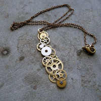 Brass Gear Pendant Tumble Cascading Recycled by amechanicalmind