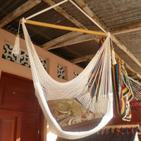 White Sitting Hammock Hanging Chair Natural Cotton and by hamanica