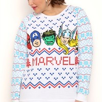Plus Size Long Sleeve Fair Isle Print Top with Marvel Screen