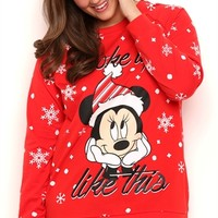 Plus Size Long Sleeve French Terry Top with Minnie Snowflake Print