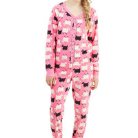 ModCloth Quirky Long Sleeve Skinny Ewe Are Welcome One-Piece Pajamas