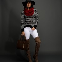 Promo-black Fair Isle Pullover Sweater