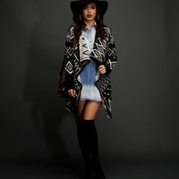 Black And White Tribal Drape Cardigan