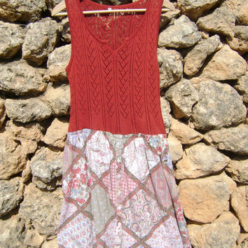 Shabby Chic Upcycled Tunic Dress in Rust and muted palette