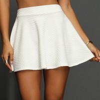Winter White Textured Skater Skirt