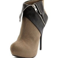 Zipper Collar Nubuck Heel Bootie: Charlotte Russe