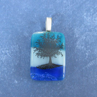Black Tree Pendant, Omega Slide, Fused Glass Jewelry, Tree Jewelry, Nature Jewelry, Blue White Pendant  - Marietta - 4682 -4