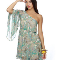 Folk Song Refrain One Shoulder Print Dress