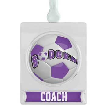 Purple and White Personalize Soccer Ball