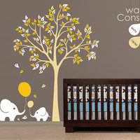 "Baby Nursery Wall Decals - Tree Wall Decal - Elephant Tree Wall Decals - Large: approx 83"" x 75"" - K006"