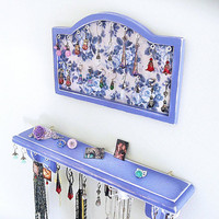 Blue Jewelry Holder, Jewelry Organizer, Jewelry Display, Wall Hanging Earrings Necklace Holder, Jewelry Storage Hanger
