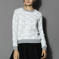 Full Floral Lace Sweat Top Grey