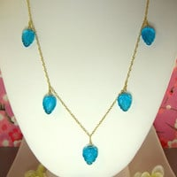 Swiss blue quartz carved leaf drop gold necklace