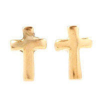 Simple Gold Cross Earring