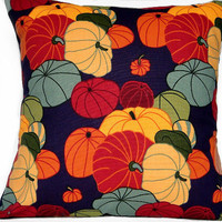 Halloween Pillow Cover Pumpkins Gourds - Red Green Purple Mustard Orange Rust Gray Blue - Repurposed 18x18