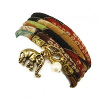 Lucky Gold Elephant Wrap Bracelet made with Japanese Chirimen Cord | charmed design