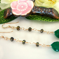 Emerald green onyx golden black spinel drop earrings