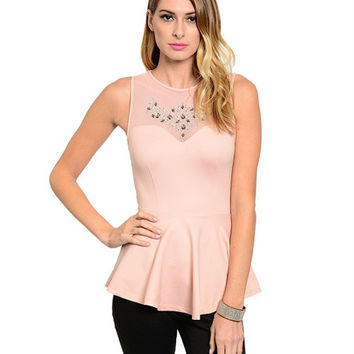 Jeweled Peach Peplum Top