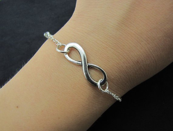 silvery infinity wish metal chain bracelet women jewelry bangle bangle 1271A