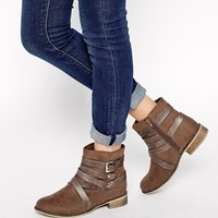 New Look Wide Fit Bobby Multi Strap Ankle Boots