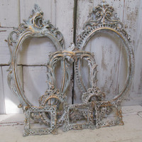 Distressed frame grouping French blue ornate frame set gold accent cottage chic wall and home decor ooak Anita Spero Design