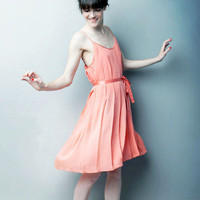 Let Them Eat Meringue Pleated Dress CORAL  by alexandragrecco