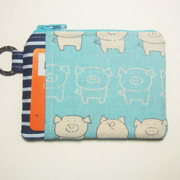 Black Friday Sale Pig in Blue handmade fabric zip purse id1330818 for cards, cosmetics, thumbdrive, change, lanyard