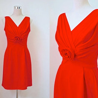 BLACK FRIDAY - Sue Leslie Of California Dress - 1960's Dress - 60's Party Dress - Coral Red Dress - Cocktail Dress - Holiday Christmas