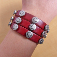 Bangle leather bracelet buckle bracelet men bracelet women bracelet metal bracelet with leather and metal pentagram bracelet SH-0699