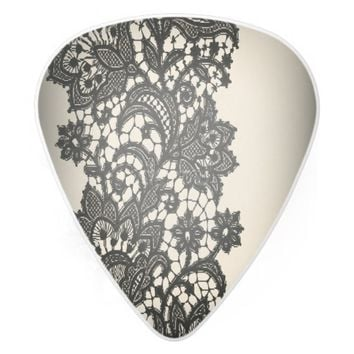 girly abstract Vintage paris black Lace pattern guitar pick
