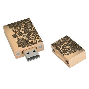 girly abstract Vintage paris black Lace pattern USB drive