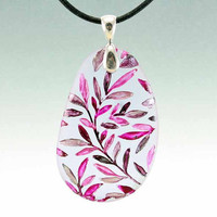 Purple Leaf Plum - Etched Glass Pendant