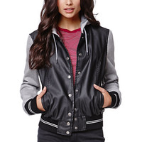 LA Hearts Faux Leather Fleece Sleeve Baseball Jacket - Womens Jacket