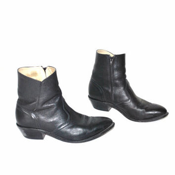size 10.5 mens WESTERN ankle boots / vintage 1970s RETRO black leather pointy rocker RIDING boots