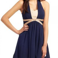 Navy Chiffon Overlay Criss Cross Halter Dress