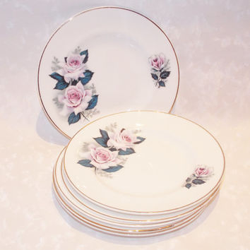Side Plates, China Plates, Set of Six, Side Plate Set, Flowers, Roses, Pink, Plate Set - 1950s / 1960s