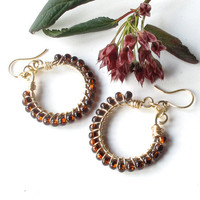 Beaded hoop earrings - wire wrapped gold brass & root beer brown Czech glass beads