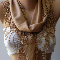 Caramel -- Pashmina and Elegance Shawl / Scarf with Lace Edge..